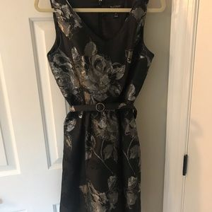 Black and Silver jacquard cocktail dress